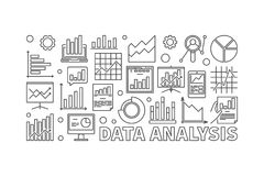 Data analysis line vector banner. Data analysis line banner. Vector financial business analysis outline illustration on white background Royalty Free Stock Photography