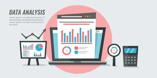 Data analysis - marketing information - website audit reporting concept. Flat design analytic vector illustration. Concept of business data analysis, marketing stock illustration