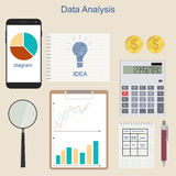 Data analysis. Phone for communication. The charts and graphs. Calculation of income. Business ideas and income. A set of financial instruments. Accounting Stock Image