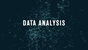 Data analysis with polygonal connecting dots and lines. Against cyan blue background stock illustration