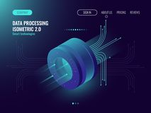 Data analysis processing big data computing, information flow,digital science lab, data center server room concept dark. Neon isometric vector Royalty Free Stock Photography