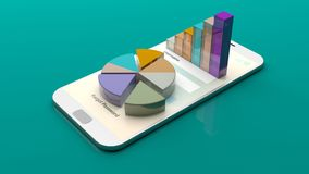 Data analysis reports on a smartphone screen. 3d illustration. Data analysis reports on a smartphone screen on green background. 3d illustration Royalty Free Stock Images