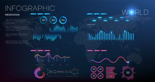 Data analysis, research, audit, planning, statistics, management vector concept. Global statistics of the whole world. Vecotr royalty free illustration