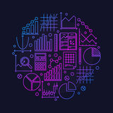 Data analysis round illustration Stock Images