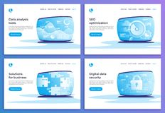 Data analysis, SEO optimization, business solutions, digital sec. Urity vector concepts. Landing page templates. Global swatches Royalty Free Illustration
