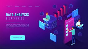 Data analysis services landing page Royalty Free Stock Images