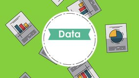 Data analysis statistics HD. Data analysis round icons over statistics report falling background High definition animation colorful scenes vector illustration