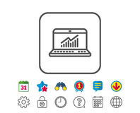 Data Analysis and Statistics line icon. Computer. Royalty Free Stock Images