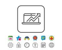 Data Analysis and Statistics line icon. Computer. Stock Photos
