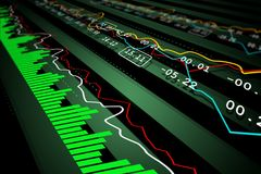 Data analysis in stock market. Digital illustration of Data analysis in stock market in color background Stock Photos