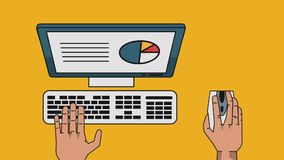 Data analysis technology HD. Hands using computer with data analysis High definition animation colorful scenes vector illustration