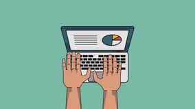 Data analysis technology HD. Hands using laptop with data analysis High definition animation colorful scenes stock illustration