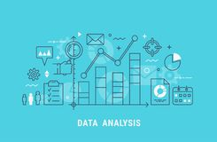 Data analysis thin line vector illustration. Data analysis thin line flat modern vector illustration for web design Royalty Free Stock Photos