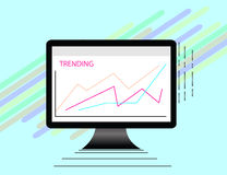 Data Analysis Using Modern Electronic and Mobile Devices Concept Flat Design Style. Data Analysis Using Modern Electronic and Mobile Devices Concept  Flat Royalty Free Stock Images