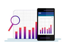 Data Analysis Using Modern Electronic and Mobile Devices Concept Flat Design Style. Data Analysis Using Modern Electronic and Mobile Devices Concept  Flat Stock Image
