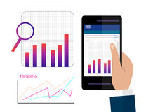 Data Analysis Using Modern Electronic and Mobile Devices Concept Flat Design Style. Data Analysis Using Modern Electronic and Mobile Devices Concept  Flat Design Royalty Free Stock Photos