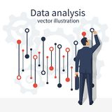 Data analysis vector. Data analysis. Businessman in suit with briefcase standing statistical datawith charts, diagrams. Financial statistics, reporting, strategy Royalty Free Stock Images