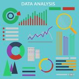 Data analysis. Vector icons and signs set for the concept of infographic of big data analysis and financial research. Digital vector illustration