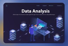 Data Analysis. Vector Isometric Illustration. stock illustration