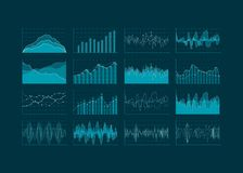 Data analysis visualization. Set of HUD and infographic elements. Futuristic user interface. Vector illustration Stock Photo