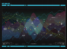 Data analysis visualization. Visual data complexity. Social network representation. Data analysis visualization. Futuristic infographic. Information aesthetic Royalty Free Stock Image