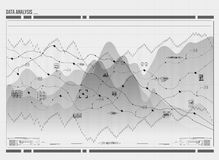 Data analysis visualization. Visual data complexity. Social network representation. Data analysis visualization. Futuristic infographic. Information aesthetic Royalty Free Stock Photo