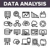 Data Analysis, Web Storage Linear Vector Icons Set vector illustration