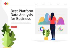 Data Analysis Website. Creative landing page website design concept the best platform for data analysis for business. Vector illustrations. modern flat style stock illustration