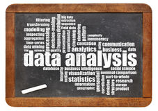 Data analysis word cloud on blackboard Stock Photography