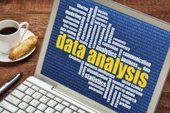 Data analysis word cloud on laptop royalty free stock image