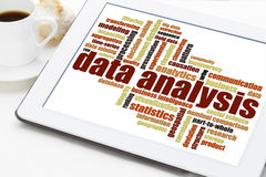 Data analysis word cloud on tablet royalty free stock photos