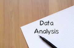 Data analysis write on notebook Royalty Free Stock Image
