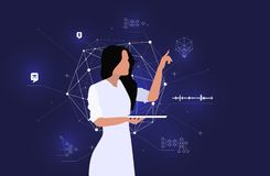 Data analyst models an intelligent system. Big data and pattern recognition. stock photos