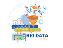 Data analytic and big data concept vector illustration Stock Photos