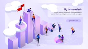 Data Analytic Company Isometric Vector Web Banner. Big Data Analysis Isometric Vector Horizontal Web Banner with Working Business People Using Laptop, Climbing vector illustration