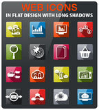 Data analytic icon set. Data analytic icons set in flat design with long shadow Stock Images