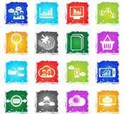 Data analytic icon set. Data analytic  web icons in grunge style for user interface design Royalty Free Stock Photo