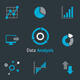Data analytic icons. Set. Chart and diagram, infographic and progress. Vector illustration Royalty Free Stock Image