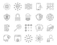 Data analytic, protection and social network icons set. Editable Stroke. EPS 10. vector illustration
