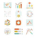 Data analytic silhouette icons Royalty Free Stock Image