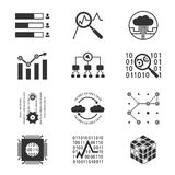 Data analytic silhouette icons. Data analytic monochrome silhouette icons vector illustration stock illustration