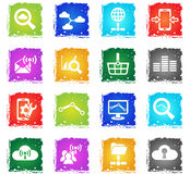 Data analytic and social network icon set Royalty Free Stock Images