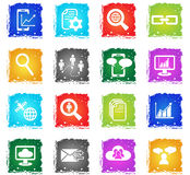 Data analytic and social network icon set Stock Image