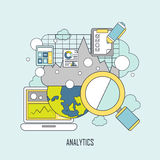 Data analytics concept in thin line style Stock Photos