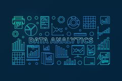 Data analytics concept vector blue illustration. Data analytics concept vector blue horizontal banner or illustration in thin line style on dark background Royalty Free Stock Photography