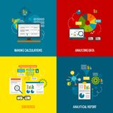 Data Analytics Flat Set Royalty Free Stock Images
