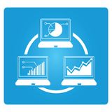 Data analytics. Graph, chart in laptpo screen, data analytics concept Stock Images