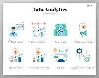 Data analytics icons flat pack stock illustration