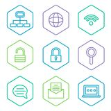 Data analytics icons set, big data concept icons Stock Photography