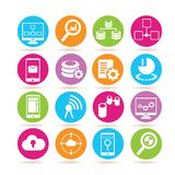 Data analytics icons. Set of 16 data analytics icons in colorful buttons stock illustration